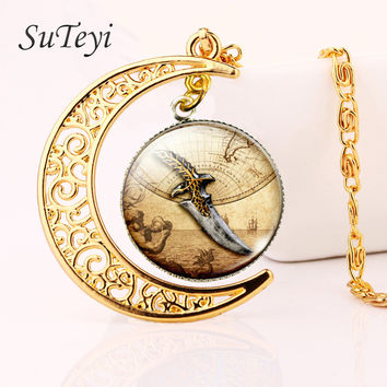SUTEYI witchcraft gold color moon necklace pirate collares necklace glass cabochon pendant tone jewelry gift for women
