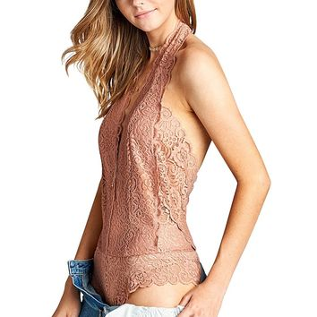 Lace Bodysuit with a Halter Neck - 3 colors