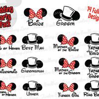 DIY Disney Wedding Iron On Transfer, Pack of 14 Printable Wedding Party Mickey & Minnie Ears, instant download Wedding Party Matching Shirts