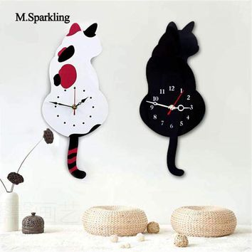 M.Sparkling creative mute wall clock cartoon Torn Tail Cat Wall Clock digital acrylic wall decoration cute gift for childs