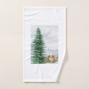 Baby Fox Fir Tree Christmas Towel