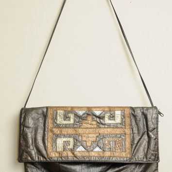 Vintage 80s/90s Soft Grey Gold and Silver Tribal Shoulder Bag Purse With Floral Design