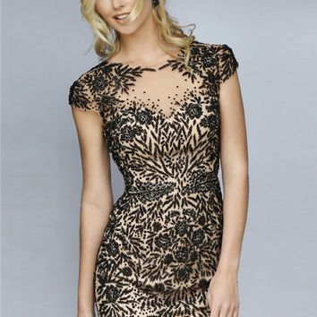 Sherri Hill 1957 Beaded Illusion Short Dress