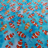Clownfish Fabric Fish Fabric Novelty Fabric Nemo Quilting Fabric Cotton Fabric Apparel Fabric Pillowcase Fabric Curtain Fabric Kids Fabric