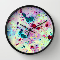 Paint Splatters Wall Clock by TigaTiga Artworks