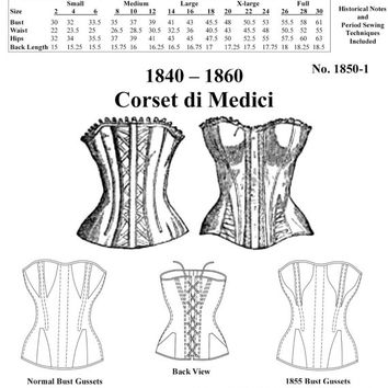 Victorian Corset Pattern: Multi Sized Sewing Pattern for 1840 - 1860, 1850-1