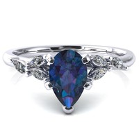 Sigrid Pear Alexandrite 4 Prong Marquise Diamond Side Ring