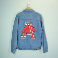 Vintage Arkansas Razorback Denim Jacket, Hogs Jacket, University of Arkansas Coat, Razorbacks Team Jacket, Size L