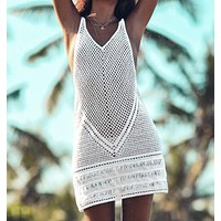 Summer New Fashion Weave Beach Contrast Color Straps Dress Women White