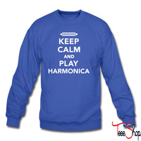 Keep calm and Play Harmonica 5 sweatshirt