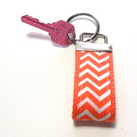Mini Orange Chevron Stripe Key Chain Key Holder Key Ring