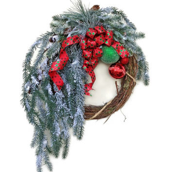Christmas Wreath for Door, Holiday Wreath, Winter Wreath,Outdoor Christmas,Decor,Red and Green Ornament,Front Door Decor,Snow Evergreen Pine
