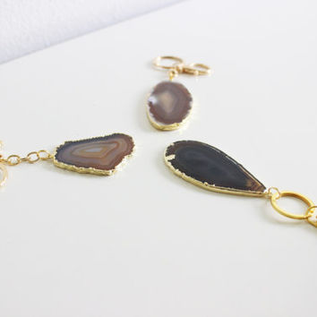 Grey/Earthtone Gold Plated SoLo Agate Stone Gold Keychain,Handbag,Boho,Bridesmaid Gift,Diaper Bag,Wedding,Modern,Gift for Her,Stone Keychain