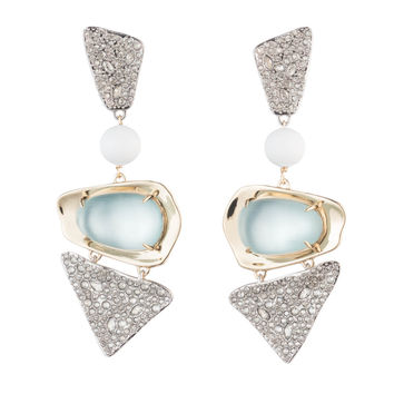 Crystal Encrusted with Matte White Accent Dangling Lucite Clip Earring | Alexis Bittar