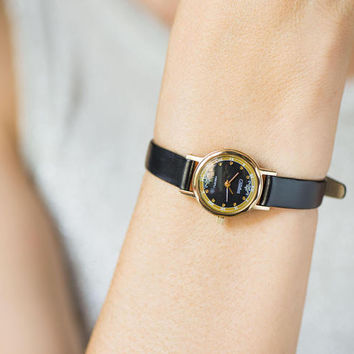 Black quartz women's watch Glory. Gold plated women watch small vintage. Cocktail watch mint condition. Party watch strap premium leather