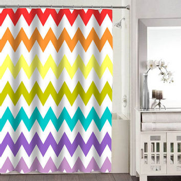 chevron rainbow shower curtains adorabel bathroom heppy shower curtains.