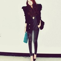 MP-Fashion — Faux Leather & Denim Skinny Jeans