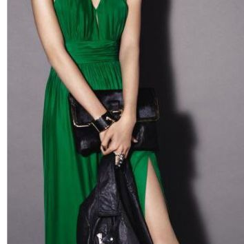 HOT GREEN CHIFFON DRESS