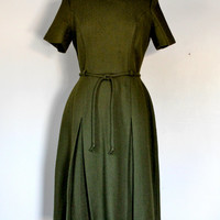 Vintage 50s Fit and Flare Wool Day Dress