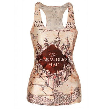 Quality Digital Print Middle Earth Map Tank Top Clubwear Gothic Punk T-Shirt (Size: M, Color: Multicolor) [8081669703]