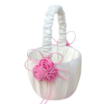 Lace Collection Wedding Flower Girl Basket Pink Rose