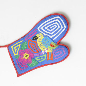 Vintage Ethnic Bright Colored Parrot Tribal Flower Pot Holder