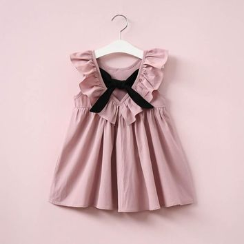 Cute Toddler Baby Girls Fly Sleeve Ruffled Bowknot Backless Solid Color Dress