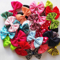 10 Pcs/lot Candy Color Solid/ Dot/ Leopard Print Bow Hairpin Hair Clips for Baby Girls Kids Hair Accessories  109-03-00064 (Size: 0, Color: Multicolor) = 1958432388