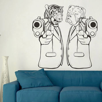 I181 Wall Decal Vinyl Sticker Interior Decor Design lion dog animals gun revolver gangster gun sight cool modern