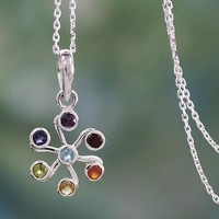 Multi Gemstone Sterling Silver Necklace Chakra Jewelry - Harmony Within | NOVICA