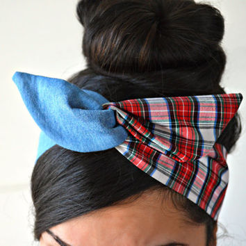 Denim Plaid dolly bow headband- Dollybow Head Band