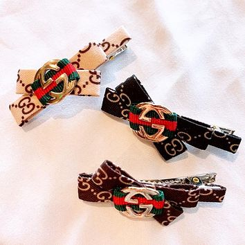 GUCCI Fashion New More Letter Print Bow-Knot Hair Clip Accessories