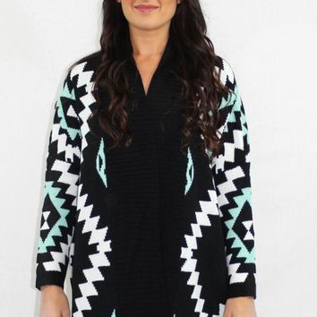Little Too Late Aztec Oversized Cardigan