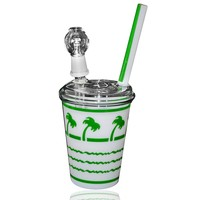 In-N-Out Cup Oil Rig Bubbler Green 14mm with Globe and Glass Nail