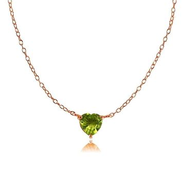 Dainty Peridot Small Heart Choker Necklace in Rose Gold Plated Sterling Silver