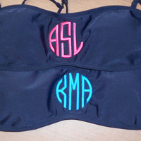 Monogram Bandeau Navy Blue Bikini Top  Font shown NATURAL CIRCLE in bright pink