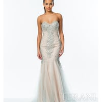 Ice Blue & Nude Crystal Embellished Trumpet Gown