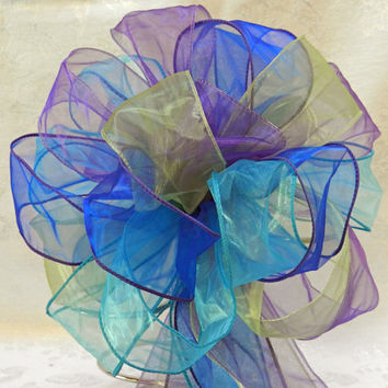Royal blue, Lime green,Purple and Teal Wedding/ Pew Bows set of 10