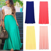 2015 new Summer Autumn Fashion Long Chiffon Skirts Female Candy Color Pleated Maxi Womens Skirts = 5979111617