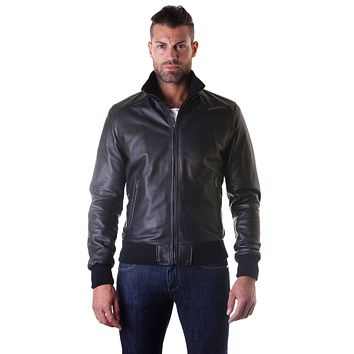 Black Handmade Leather Bomber Jacket