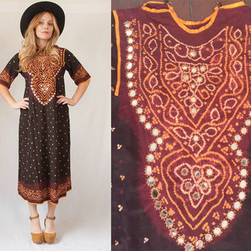70s Mirrored Caftan Dress - S/M | True Vintage Indian Womens Hippie Bohemian Gypsy Embroidered Maxi Dress Small Medium Cotton Festival Dress