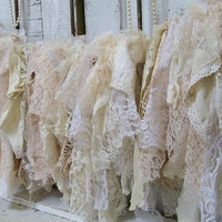 Romantic fabric garland shabby chic white ivory cream tattered lace and ruffles very full home decor Anita Spero