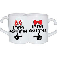 Love Mugs Im with him Im with her Couples Black mickey hands