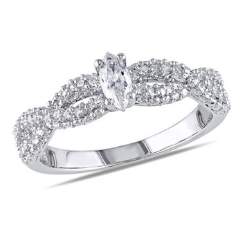 1/3 CT. T.W. Marquise Diamond Twisted Ring in Sterling Silver