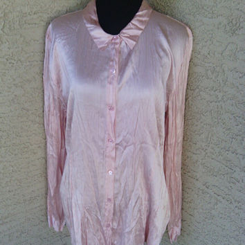 Eileen fisher pink silk blouse - button front - Xlarge - crinkle stretch silk charmeuse - with tags never worn -
