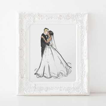 Wedding Portrait / Bridal Shower Gift Ideas / Bride Gift from Bridesmaid / Engagement Gifts for Couple / Bridal Shower Gift for Bride