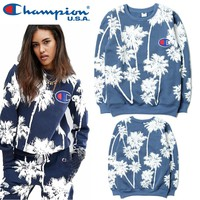 Palm Tree Champion Printed Unsex Pullover Sweatshirts Top