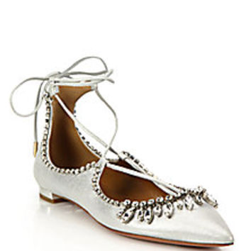Aquazzura - Christy Crystal & Metallic Leather Lace-Up Flats - Saks Fifth Avenue Mobile