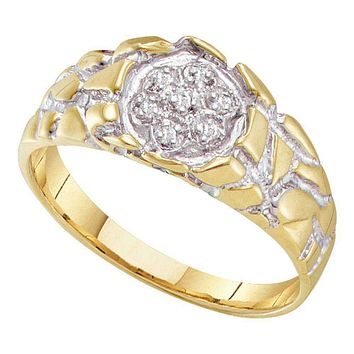 10kt Yellow Gold Men's Round Diamond 2-tone Nugget Band Ring 1/20 Cttw - FREE Shipping (US/CAN)