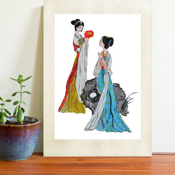 watercolor print Traditional Ancient Chinese Lady Painting two ancient Chinese women Asian women painting portrait painting digital download
